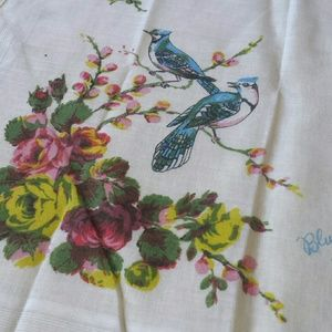 1970s Blue Jay Cotton Kerchief
